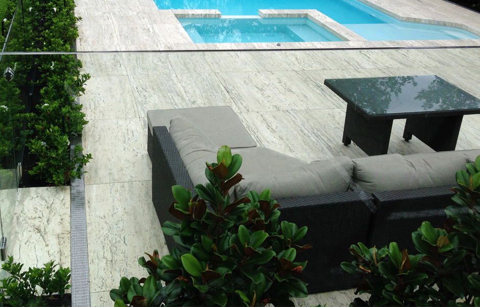 Pool drainage and skimmer box covers with tile insert by WETT Solutions, Australia.